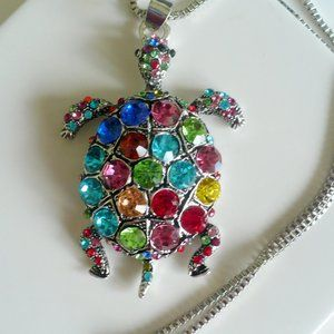 ❤️ NEW Crystal Multi-Color Turtle Pendant Necklace